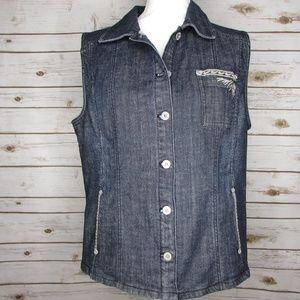 Chicos Platinum Denim Vest Size 2 Embroidered